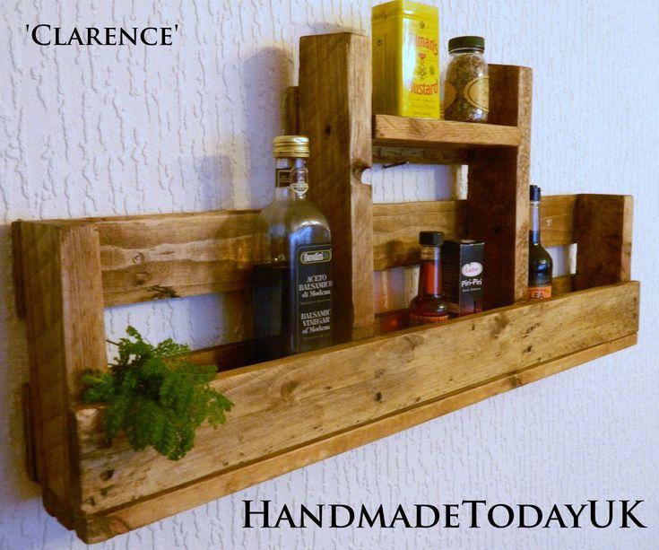 Handmade rustic industrial shelf kitchen spice rack