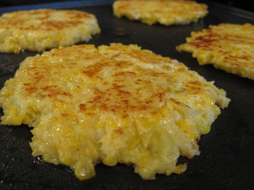 Cauliflower!!! 1 head cauliflower 2 large eggs 1/2 c cheddar cheese, grated 1/2 c panko 1/2 t cayenne pepper salt olive oil