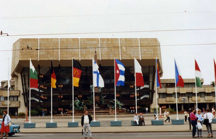 Gewandhaus mit Fahnen. Leipzig, with two German Flags East and West flying - DDR BRD. 1988 | by sludgegulper
