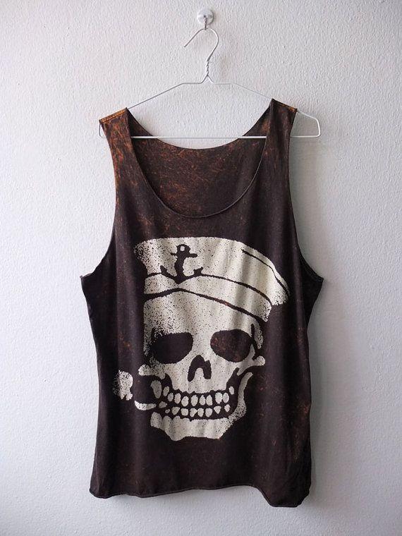 Vintage pirate skull tattoo rocker fashion punk goth Stone Washed Tank Top Vest M