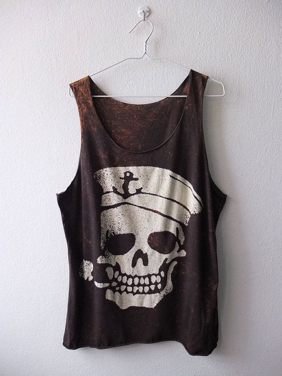 Vintage pirate skull tattoo rocker fashion punk goth Stone Washed Tank Top Vest M