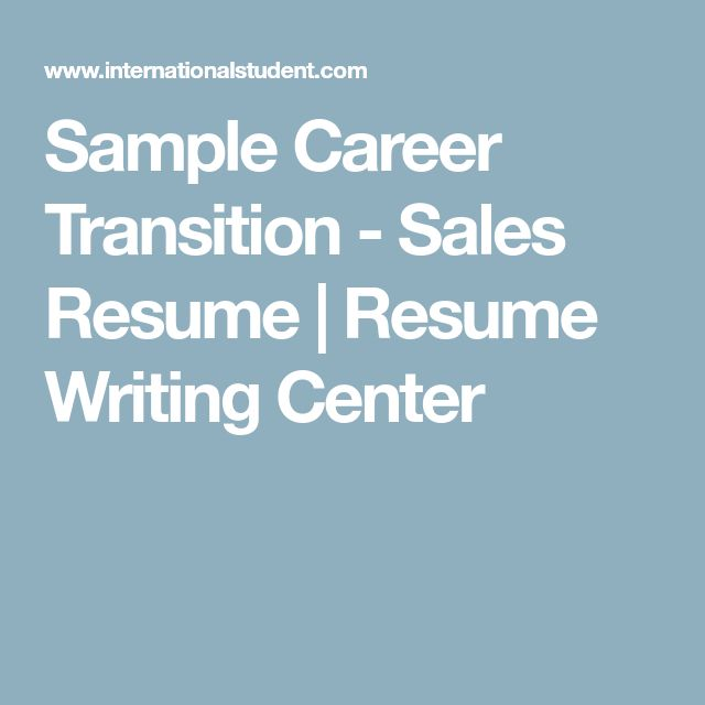 Sample Career Transition - Sales Resume | Resume Writing Center