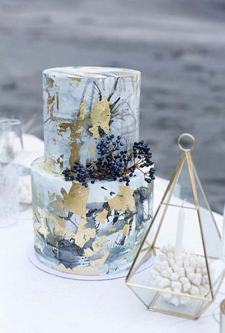 Modern Gray and Gold Abstract Wedding Cake | Brides.com