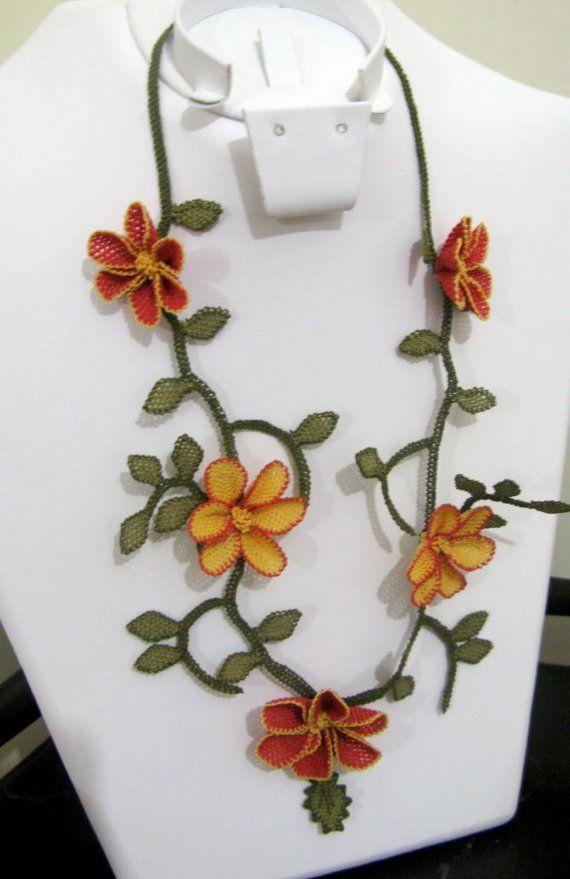 Orange and Red Flowers NecklaceCrochet  flower necklaceRed