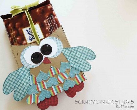sCRappy CaNuck aka Karen did this cute owl candy bar slider.  I now want some chocolate