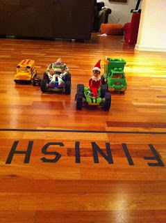 Elf on the Shelf Car Race 20 Elf on the Shelf Ideas with Shopping List and Daily Planner