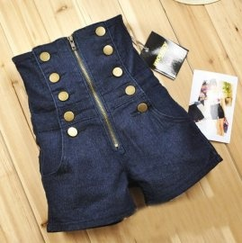 Double Breasted Zipper High Waist Shorts    $28.38