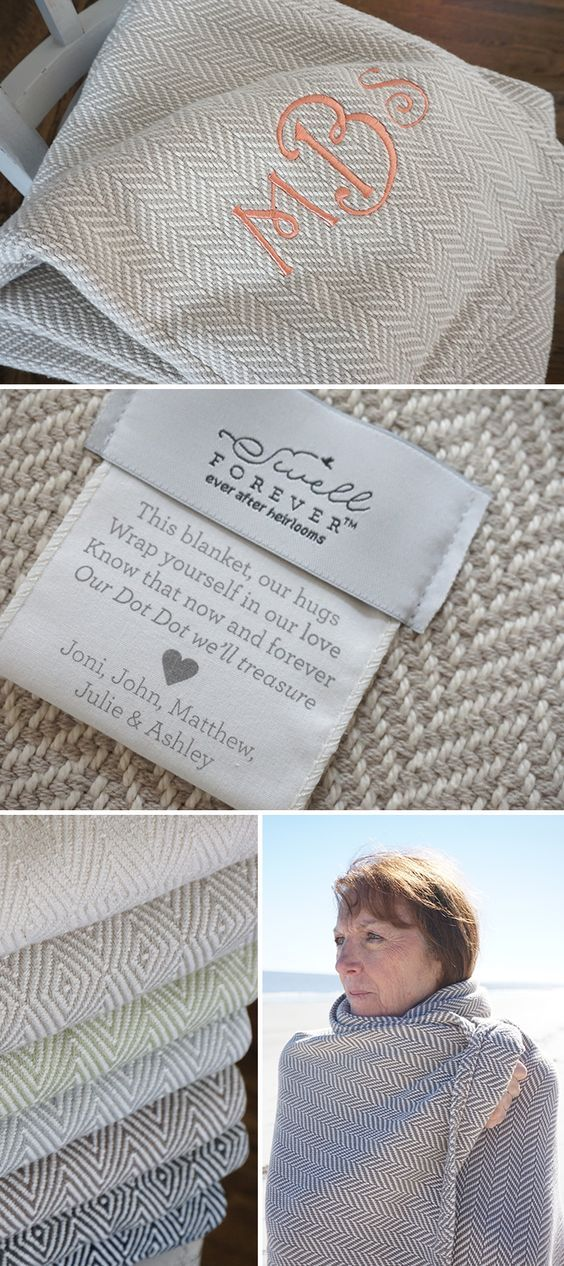 The Forever Blanket {throw} collection from Swell Forever. American Made fabrics, uniquely personalized message tags, and embroidery available. Perfect gifting for housewarming, bridesmaids, maid of honor, mother of the bride, mother of the groom, grandmothers, godparents, best friends, sisters, aunts, mothers, and more. Thoughtful thank you gift ideas that last. Herringbone and diamond patterned throws in cream, oatmeal, soft green, sea salt, brownie grey, charcoal and navy. We support…
