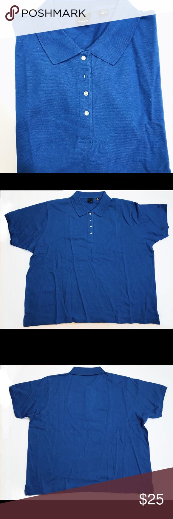 """Men's Reebok Polo-shirt Blue 3XL Shirt 100% cotton Men's Reebok Polo-shirt Blue OR black SZ S,3XL Shirt  Reebok Logo 100% cotton New no tags   Check measurements below for correct fit:    Measurements laid flat (approx):    Size 3XL:  Armpit to Armpit: 27 1/2""""   Sleeves: 9""""   Length: 26  1/2""""   I do my very best to accurately describe each item and if you need additional information,  please feel free to contact me.   I value your continued support and hope you will continue to enjoy the…"""