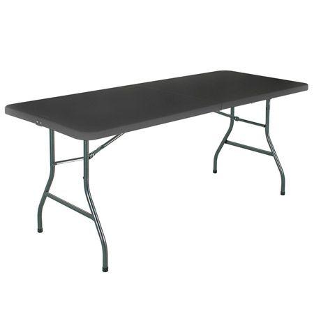 Mesa plegable rectangular negra 180 cm | Tusmesasplegables.com