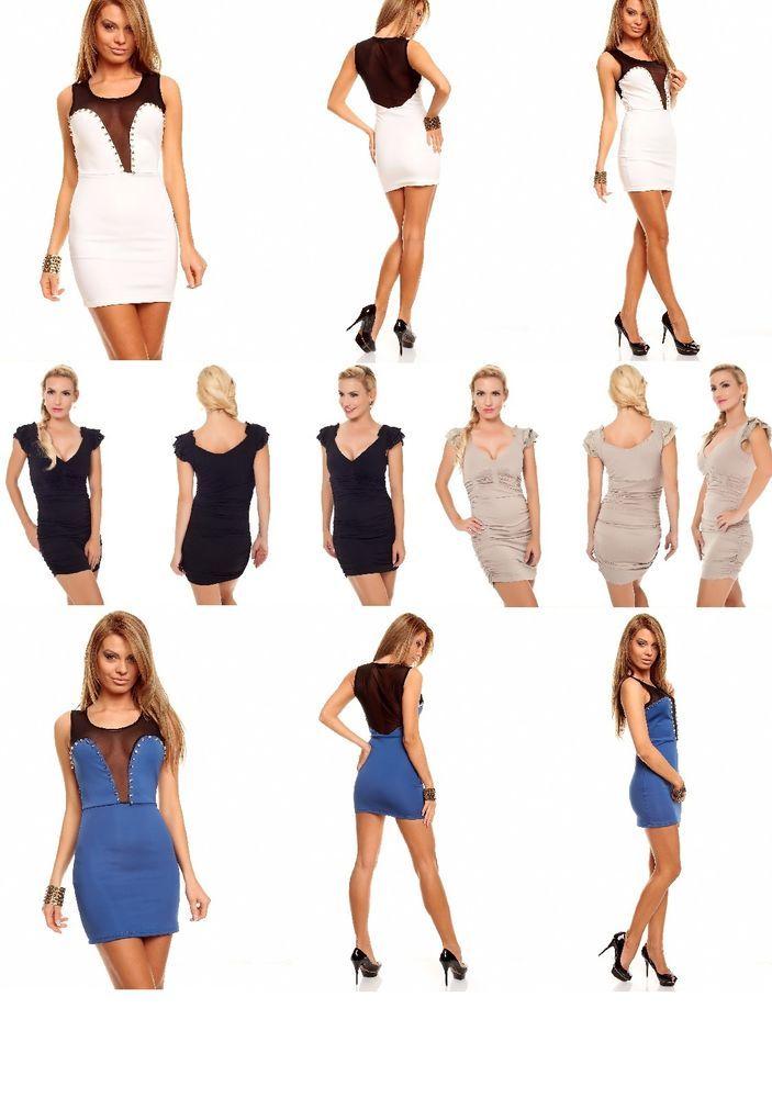 Stretch Minikleid,Party Minikleid Kleid Cocktailkleid m.Raffung Abendkleid 36-44