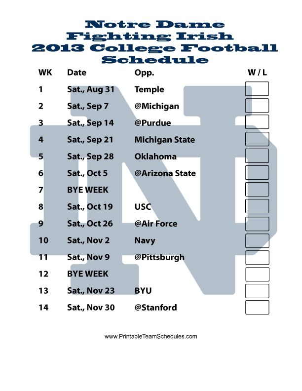 "Notre Dame 2013 2014 Schedule | Printable Notre Dame Football Schedule 2013 - Printer Friendly Like the Irish? Be sure to check out and ""LIKE"" my Facebook Page https://www.facebook.com/HereComestheIrish Please be sure to upload and share any personal pictures of your Notre Dame experience with your fellow Irish fans!"