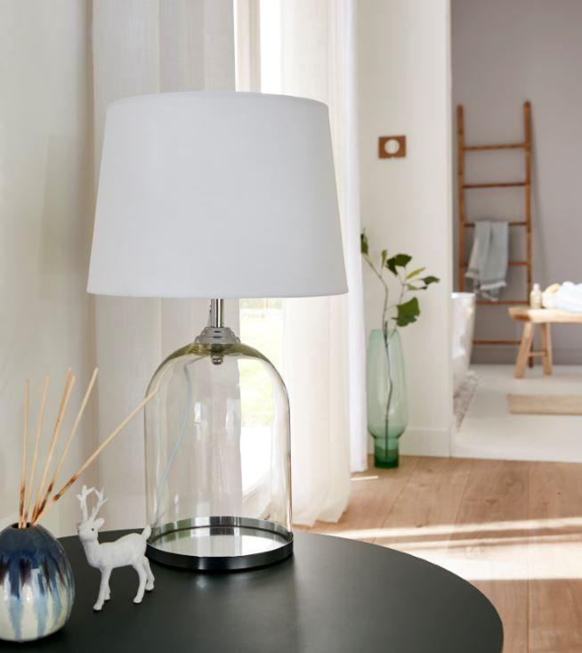 Lampe A Poser Colours Darby Verre Transparent Et Blanc Lampe A Poser Lamp Inspiration Deco