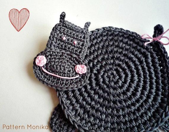 Crochet Hippo Coasters Pattern DIY by MonikaDesign on Etsy,