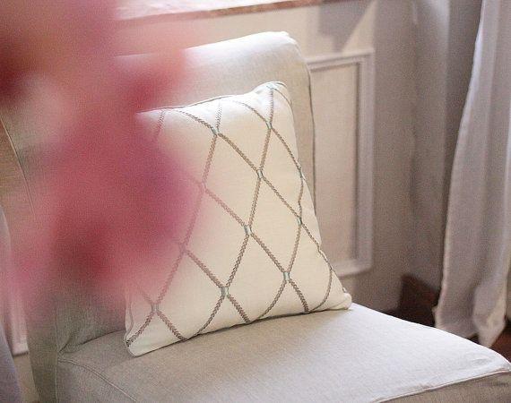 Designer Ecru Taupe Aquamarine Pillow Clarke & by emeisonCOM