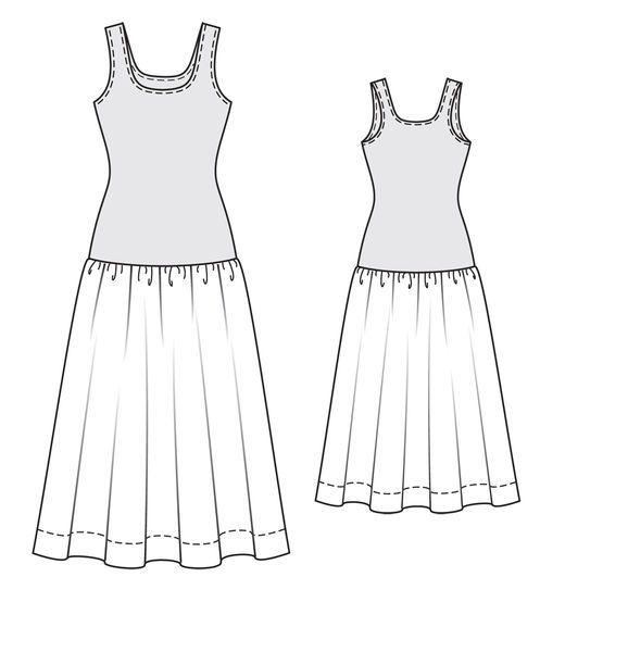Burda 2014/03 [125] - Robe. La partie haute est coupée comme un débardeur, dans un jersey strech imprimé, la jupe ample est en mousseline à carreaux. T34-42