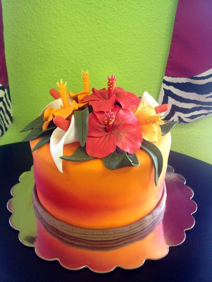 Sunset In Hawaii Cake All The Flowers Are Handmade
