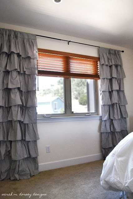sarah m. dorsey designs: DIY - great tutorial on making these ruffled curtains out of some target sheets