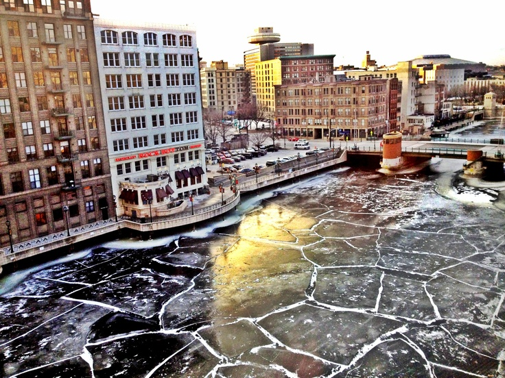 Milwaukee River ice, 2013, by @akaraulvasquez (Downtown MKE Pin of the Day, 1/25/2015).