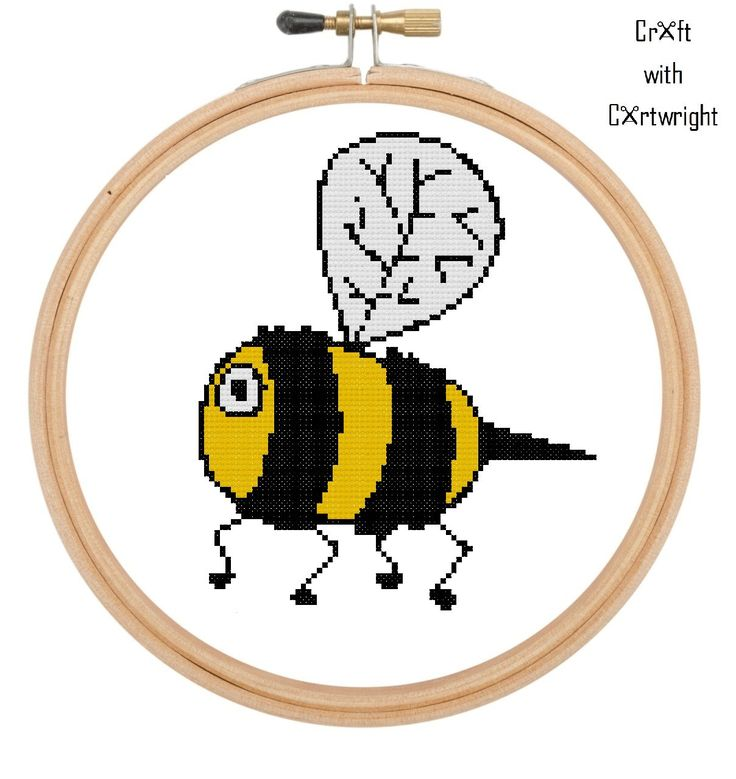 Cross stitch pattern, cartoon bumble bee, counted cross stitch, PDF digital pattern, instant download by CraftwithCartwright on Etsy