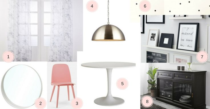 Planche d'inspiration salle a manger girly chic