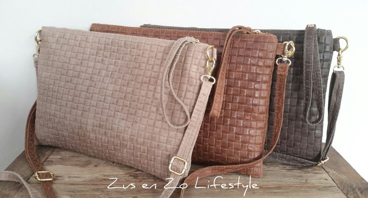 Grote echt leren clutch tassen bij Zus en Zo Lifestyle  www.zusenzolifestyle.nl