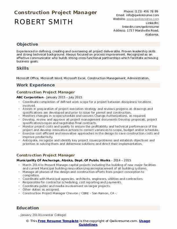 Construction Project Coordinator Resume Lovely Construction Project Manager Resume Samples In 2020 Project Manager Resume Manager Resume Download Resume