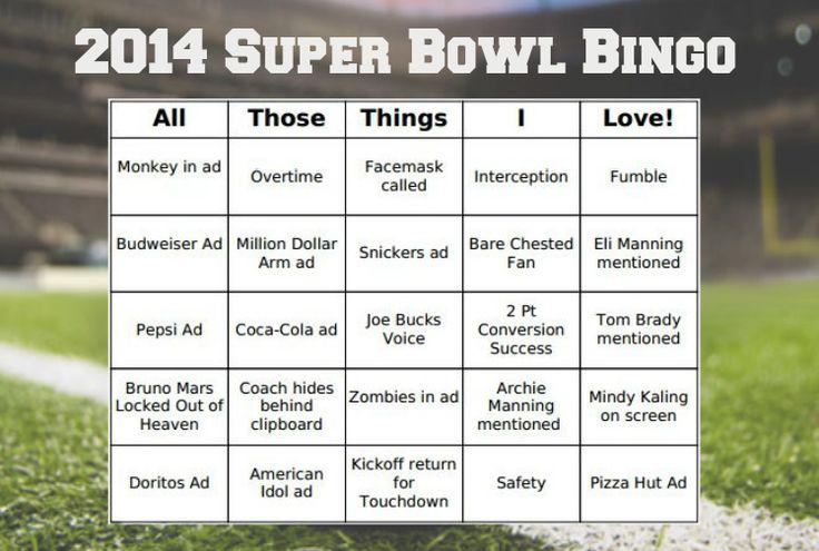 FREE 2014 Super Bowl Bingo Cards!