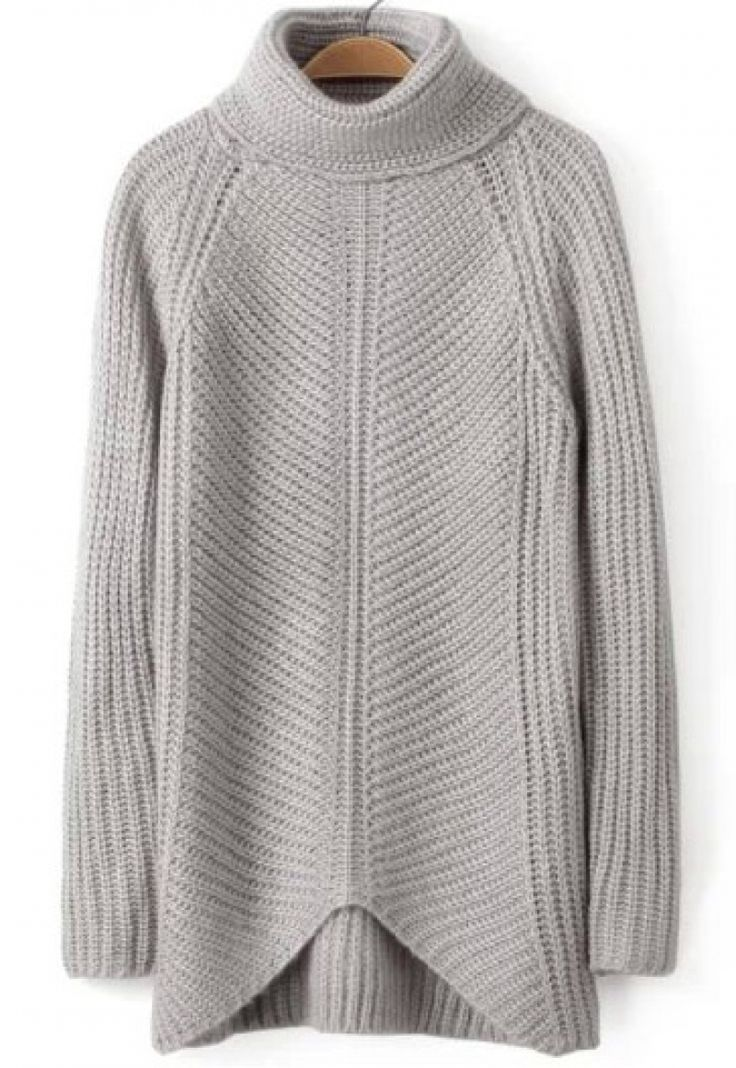 Buy Grey High Neck Long Sleeve Knit Sweater from abaday.com, FREE shipping Worldwide - Fashion Clothing, Latest Street Fashion At Abaday.com