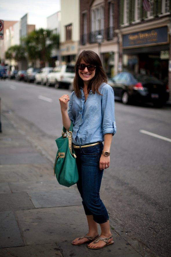denim and chambray: Chambray Outfit King, Fashion, Girl, Fashionista, Chambry Style, Street Style, King Street, Carolina King