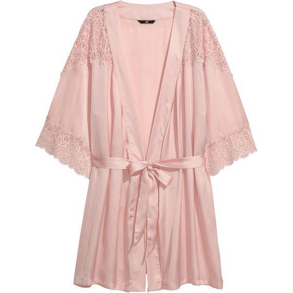 Satin Kimono $29.99 ($30) ❤ liked on Polyvore featuring intimates, robes, satin kimono, lace trim robe, short kimono robe, light pink robe and light pink satin robe
