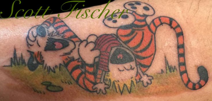 Calvin and Hobbes tattoo done on forearm by Tampa tattoo artist Scott Fischer