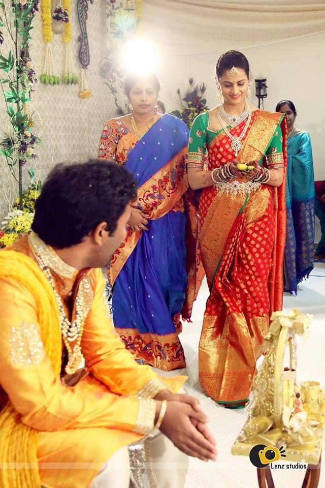 Traditional South Indian bride wearing bridal saree, jewellery and hairstyle. #IndianBridalMakeup #IndianBridalFashion # #TeluguWedding #TeluguBride #Telugu #kanjeevaram # saree #wedding #Bride