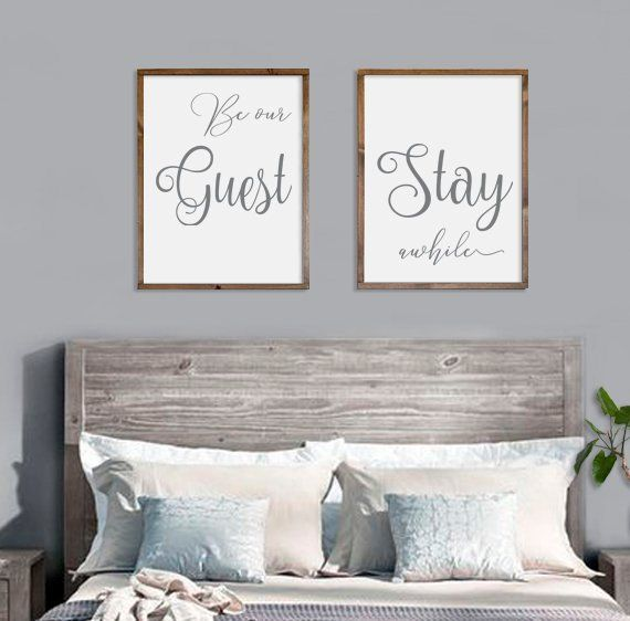 Guest Room Decor Be Our Guest Stay Awhile Framed Signs Wood