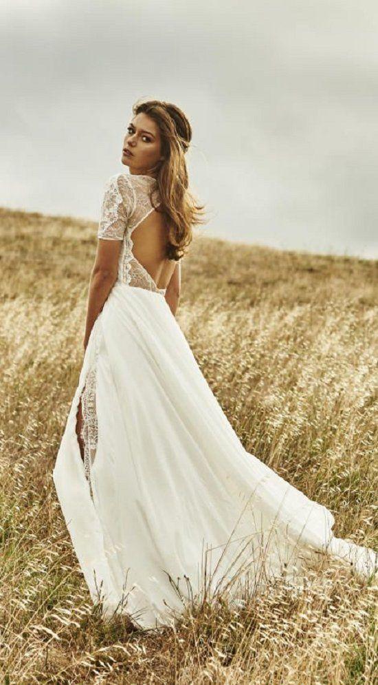 Short sleeve lace and chiffon dreamy boho wedding dress