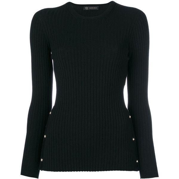 Versace stud Medusa jumper ($695) ❤ liked on Polyvore featuring tops, sweaters, black, versace jumper, long sleeve tops, studded sweater, ribbed long sleeve top and long sleeve sweater