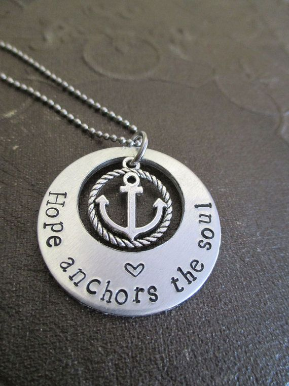Hope Anchors The Soul Necklace Inspired from the bible verse Hebrews 6:19 by pocketsofmischief, $17.99