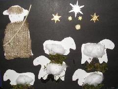 Platte vlak: Herder met schaapjes