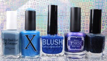 The Color Box: Blue Edition with Blue-Eyed Girl Lacquer, Baroness X, Blush Lacquers, Tonic Nail Polish, SuperMoon Lacquer swatch + review