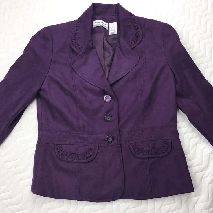 Ladies Alfred Dunner Purple Long Sleeve Dress Jacket Size 6P  | eBay