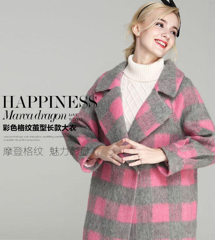 Конфеты цвета Большой размер корейской зимой парка розовый серое пальто женщины 2015 тонкий свободного покроя пиджаки с шерстяные куртки верхняя одежда B093 купить на AliExpress