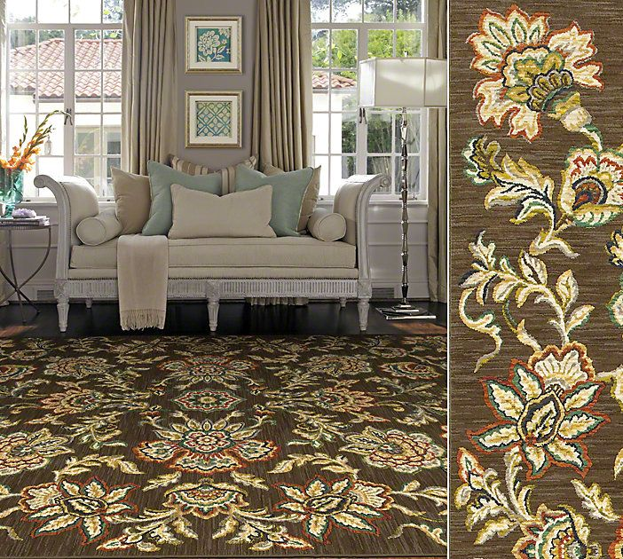 Shaw Living Traditional Design Nylon Area Rug In Style Avalon Garden, Color  Chestnut.