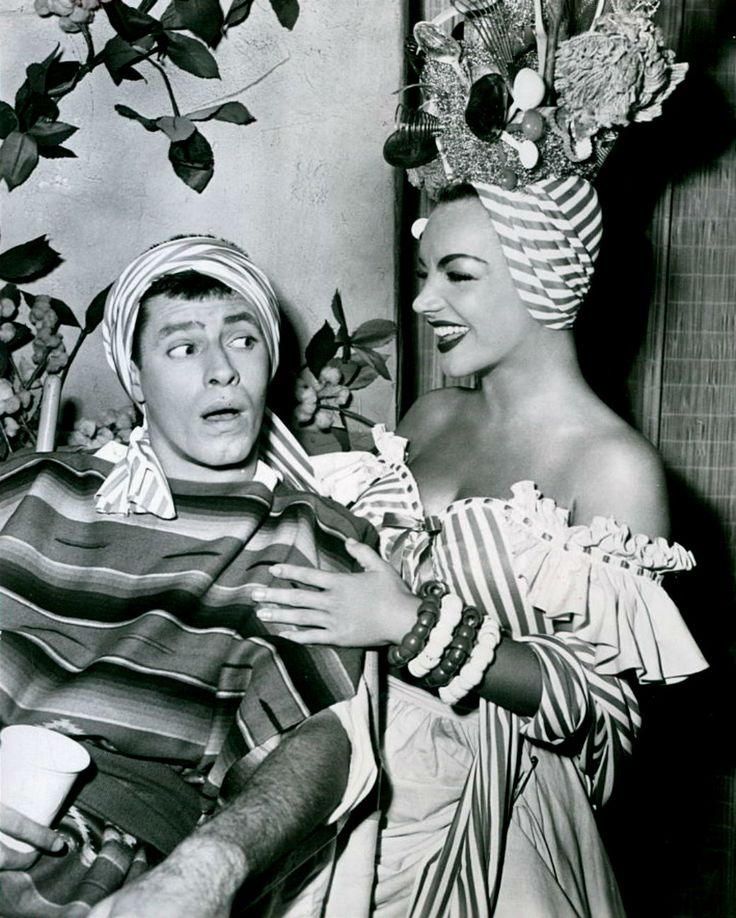 Jerry Lewis and Carmen Miranda on the set of Scared Stiff (1953)