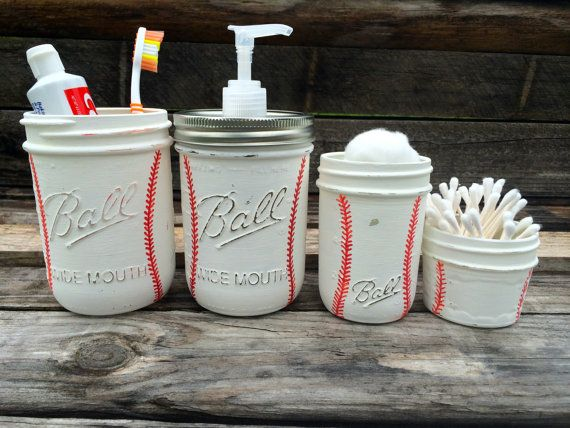 Hand Painted Baseball Mason Jar Bathroom Set~Baseball Room Decor~Baseball Birthday gift~Sports~Father's Day gift~Soap Dispenser~Mason Jars