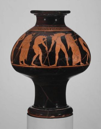 The Olympic Games began in 776 BC. They inspired the decoration on this wine jug some 200 years later. Training athletes and scenes from the Olympics were often used as decoration. Phintias, Wine cooler (psykter) depicting pentathletes. Museum of Fine Arts, Boston.