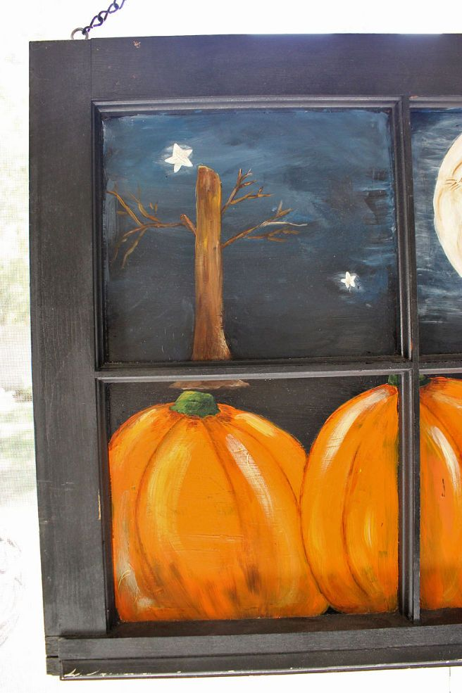 Old Window Painted with a Fall Scene :: Hometalk