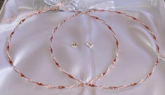 Στέφανα γάμου σε ροζ χρυσό με ψιλά κρυσταλλάκια swarovski