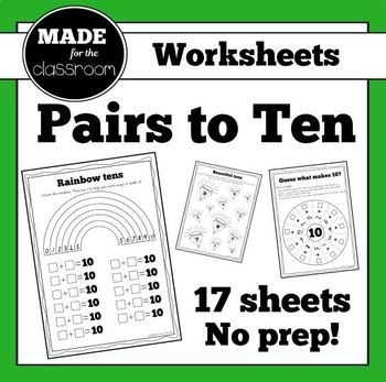 ***Click the preview button to see more!*** 0+10 1+9 2+8 3+7 4+6 5+5 LOTS of practice for the pairs to 10. No prep needed, just print! PDF includes: * Sheets with colouring, sticking, tens frames, dominoes, searching, number