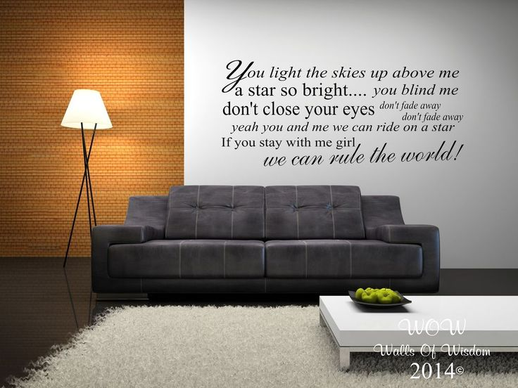Take That Rule The World Lyrics Wall Sticker / Wall Art Home Decor