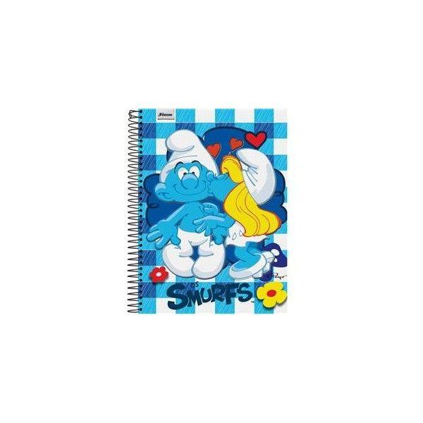 Caderno Universitário Foroni Smurfs 1 Matéria 318913 96 Folhas ❤ liked on Polyvore
